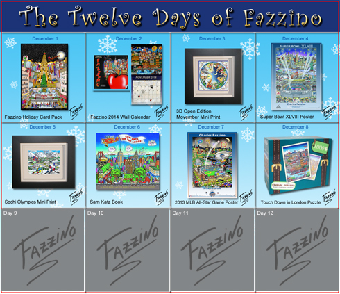 Calendar of the Twelve days of Fazzino with days 1 through 8 highlighted with their featured gifts