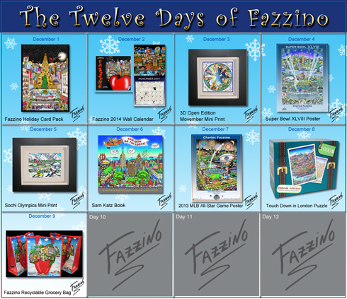 The Calendar of Twelve Day of Fazzino with days 1 through 9 highlighted with their featured gifts