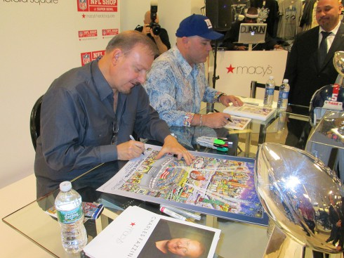Signing with Sean Landetta outside the NFL Shop at Macy's Herald Square