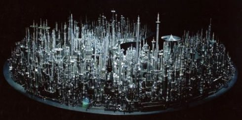Image of cityscape sculpture made out of steel