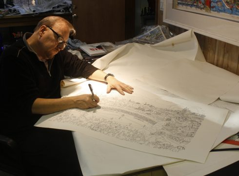 Image of Charles Fazzino drawing Little League artwork for their 75th anniversary celebration