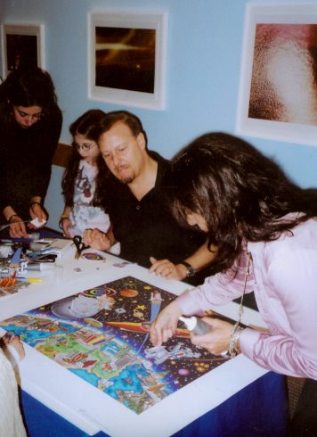 Charles Fazzino conducted an interactive art workshop with patients at Maria Fareri Children's Hospital in 2005