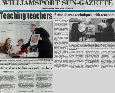 Image of the press clipping from Fazzino's teacher development workshop in Williamsport, PA