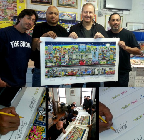 An image of Charles Fazzino and Bio, BG 183 and Nicer of TATS Cru holding up the 3D pop art piece that they created together