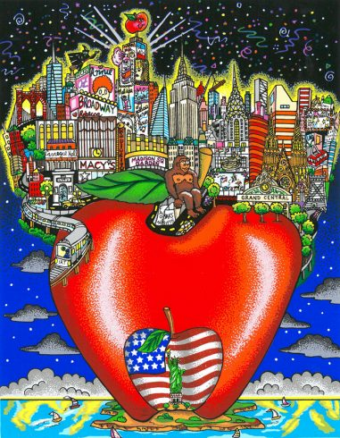 New York City on a big apple in Charles Fazzino pop art style
