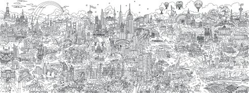 A complex line art drawing entitled, Small World, created by pop artist Charles Fazzino