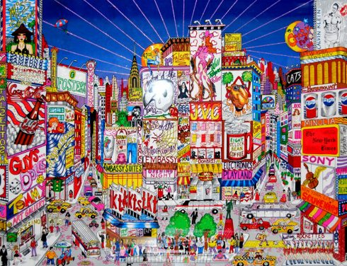 Colorful and detailed pop art drawing of Broadway by Charles Fazzino