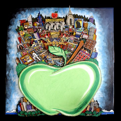 An Fazzino pop art painting of Broadway landmarks on a big green apple