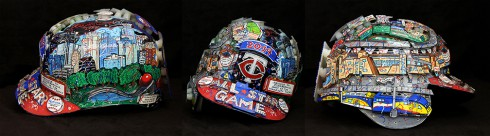 A composite image of the 2014 hand paint All Star helmet from both side views and from the front