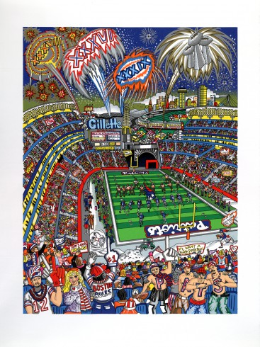 Colorful Charles Fazzino painting of the Patriots victory on the football field