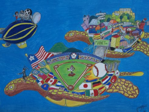 Inspired by Charles Fazzino, student Schai Bilger created this colorful baseball art
