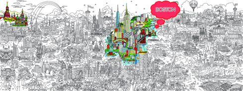 A complex line art drawing entitled, Small World, created by pop artist Charles Fazzino, highlighting the cities of Moscow, New York, and Boston