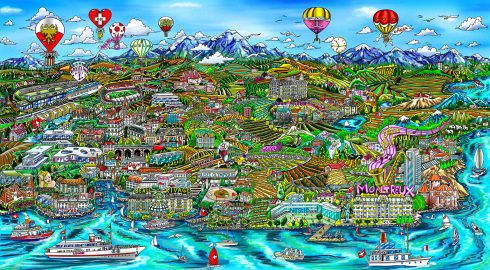 "3D Pop Artist Charles Fazzino's Swiss-inspired piece, ""Lausanne and Riviera Suisse."""
