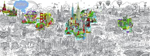 Small World Line Art LR-JAPAN-HIGHLIGHT