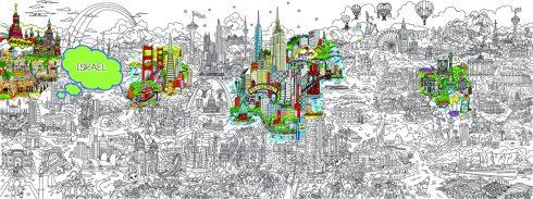 Small World Line Art LR-ISRAEL-HIGHLIGHT