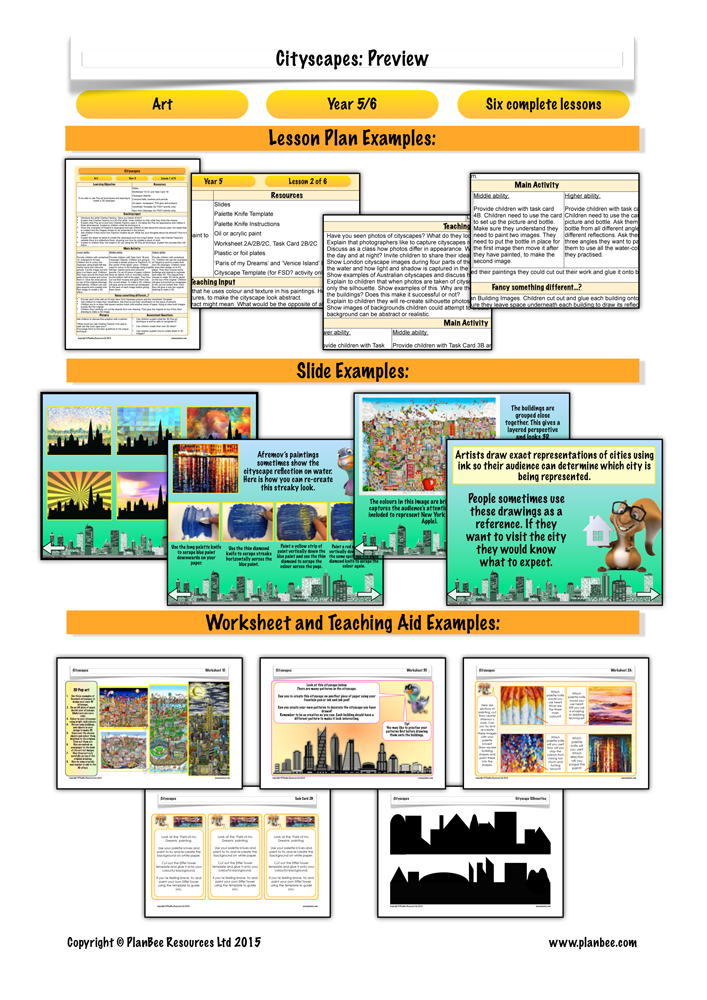 Plan Bee art lesson plan cityscapes by Fazzino