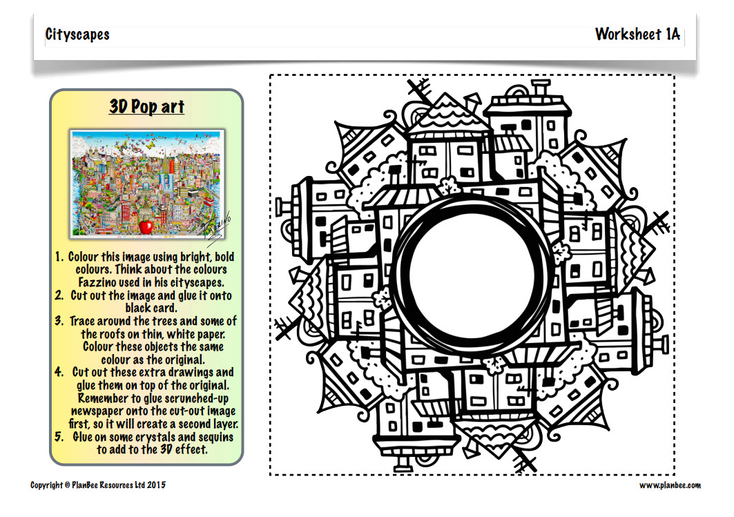 A worksheet example lesson plan for creating Fazzino cityscapes by Plan Bee