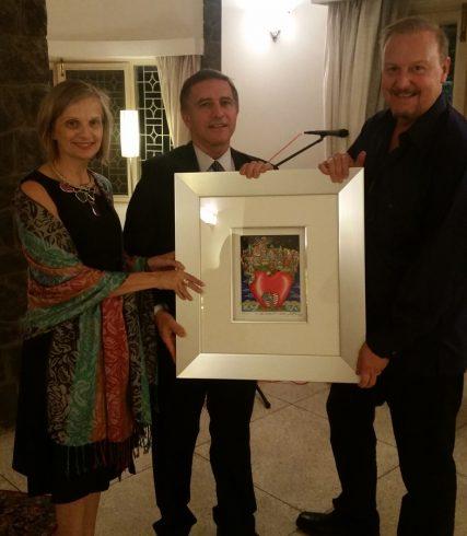 Israeli Ambassador Daniel Carmon with 3d pop artist Charles Fazzino