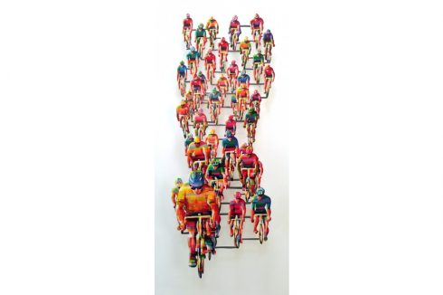 Art by David Gerstein featuring colorful bicyclists coming towards you