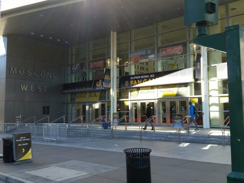 The outside of the NFL Shop Moscone West in San Francisco