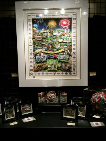 The Fazzino Super Bowl 50 artwork on display at the NFL Shop in San Francisco
