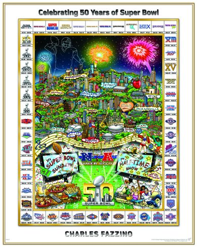 A limited edition poster featuring 50 years of the Super Bowl with all the winning teams in a border around the artwork