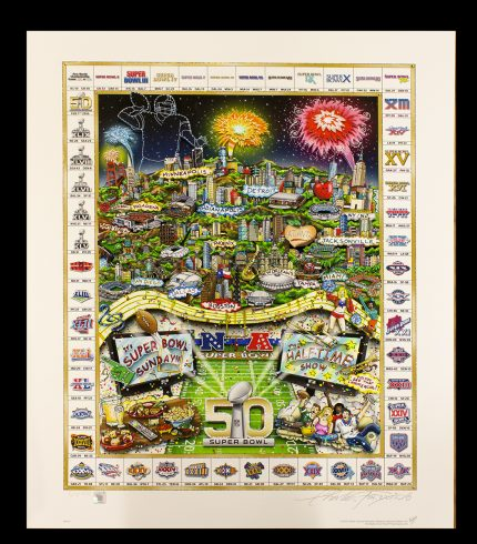 A limited edition fine art print featuring 50 years of the Super Bowl with all the winning teams in a border around the artwork