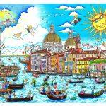 """The Sun Rises Over Venice or """"Il Sole Brilla su Venezia"""", 3d popart of Venice, Italy by Charles Fazzino."""