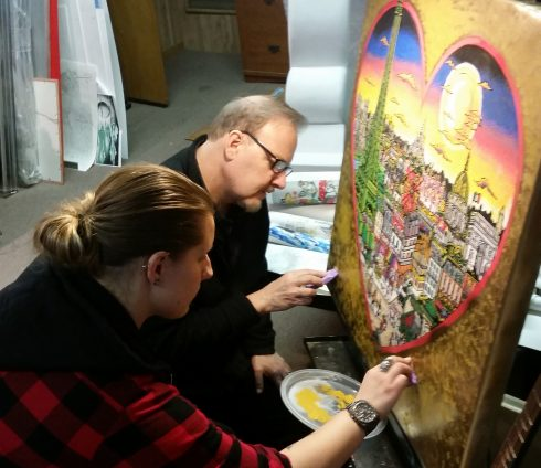 Charles and Heather Fazzino working on a collaborated piece
