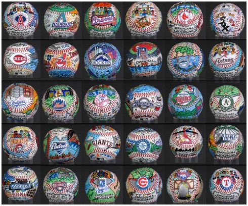 Hand-painted baseballs for teams that are in the major leagues