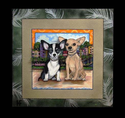 "Charles and Heather Fazzino collaborated work ""Chihuahuas in Miami"" Two chawawas, one black and white, the other tan, sitting on the beach with a city in the background."