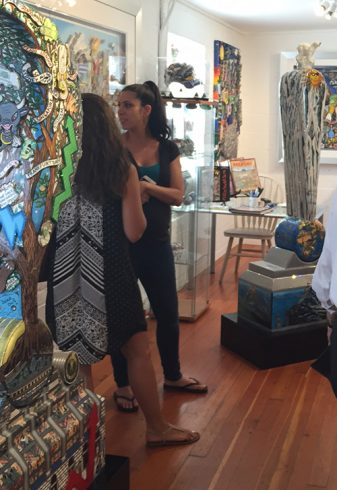 Art teachers on a tour of the Fazzino studio stop to look at one of the 3D pop art sculptures in the gallery