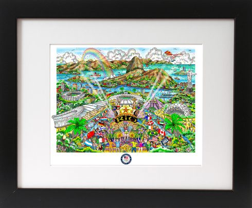 Framed 2016 Rio Olympics Pop Art piece done by Charles Fazzino