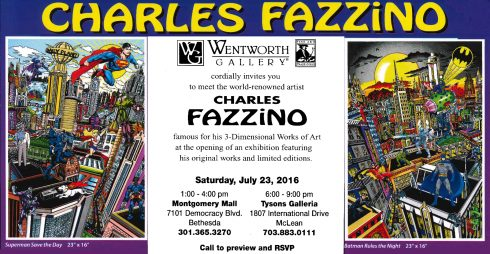 Wentworth Art Gallery promotional card with the works of Charles Fazzino on both sides and information about the show in the middle.