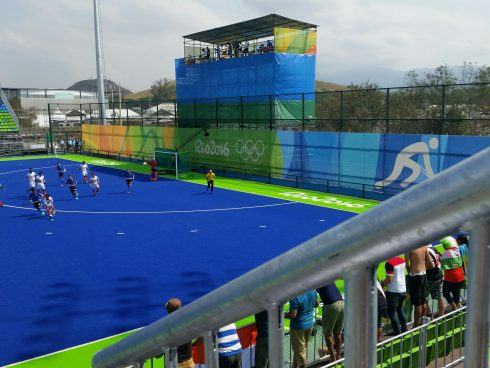 A view of the Olympic Field Hockey event at Deodoro Park in Rio de Janeiro for the 2016 Summer Olympic Games.