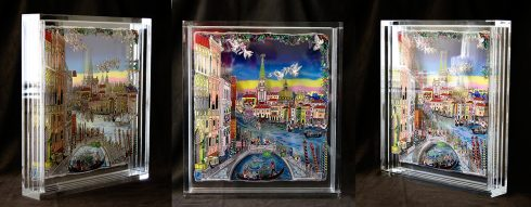 Charles Fazzino's free-standing, limited-edition, 3D plexiglass sculpture of Paris.