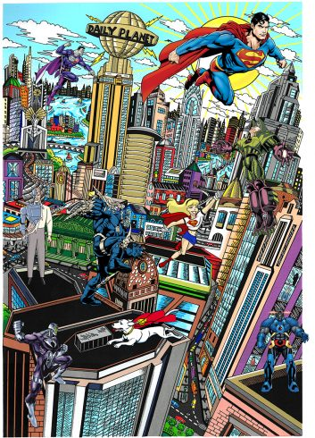 2016 pop art piece done by Charles Fazzino: Superman Saves the day.