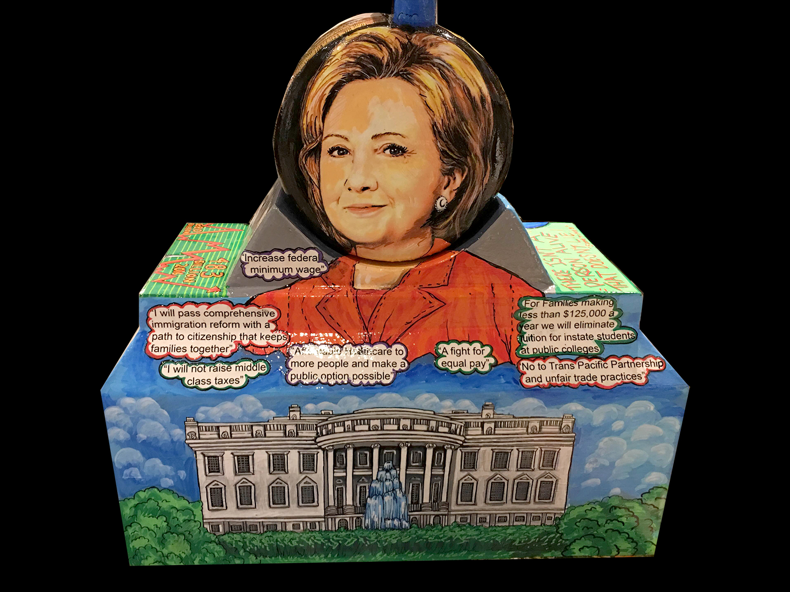 Close up details of Charles Fazzino's Hilary Clinton question mark sculpture dedicated to the 2016 presidential debate