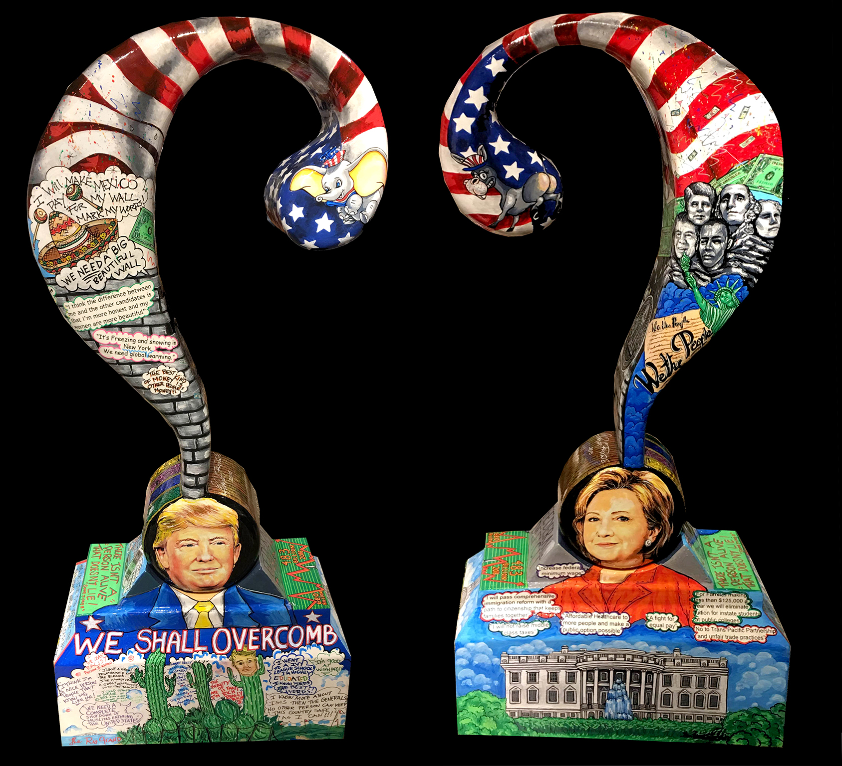 Donald Trump and Hillary Clinton question mark sculptures done by 3D Pop Art Arists Charles Fazzino