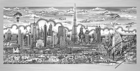 "Charles Fazzino ""Illusions of Dubai"" piece on aluminum"