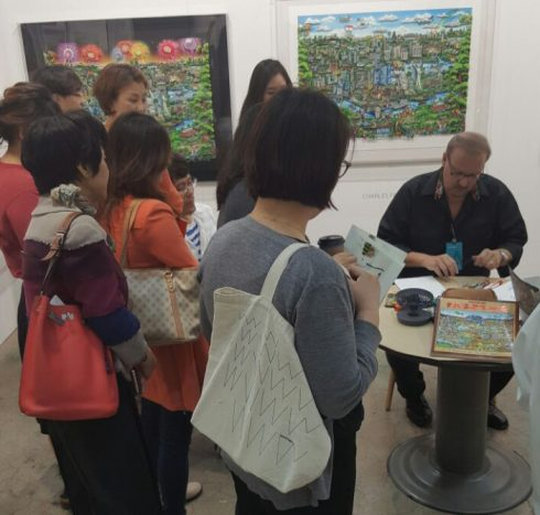 Chalres Fazzino signing some of his 3d Pop Art work for fans in Korea