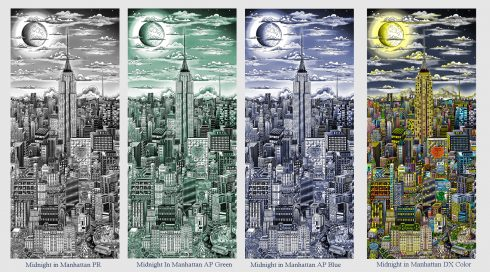 Cityscape of NYC with the Empire State Building in the center and the moon in the sky. Midnight in NYC is a multi-edition monochromatic series printed on aluminum