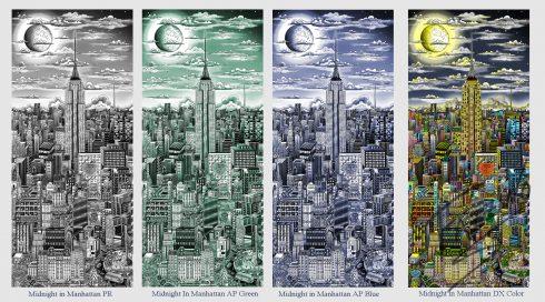 "Charles Fazzino ""Midnight in Manhattan"" piece on aluminum"
