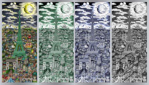 "Charles Fazzino ""Midnight in Paris"" piece on aluminum"