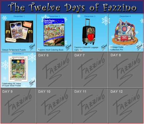 Twelve Days of Fazzino, Celebrating 50 years of SB Poster on the 5th day