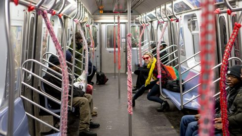 New York City subway car that was yarn bombed on Valentines Day