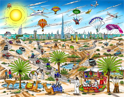 """A View from the Dubai Desert"" by 3d pop art artist Charles Fazzino"