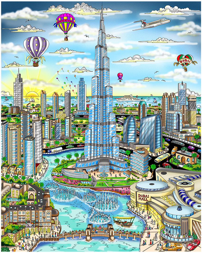 """The Fountains of Downtown Dubai"" by 3D Pop Art artist Charles Fazzino"