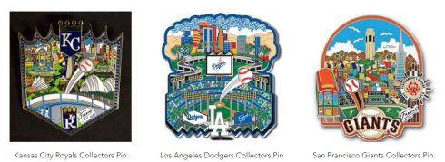 Charles Fazzino All Star Game Collector Pin Line available at the Official Fazzino Gift Shop
