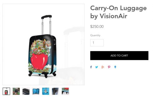 Charles Fazzino carry on luggage by VisionAir gift shop collection